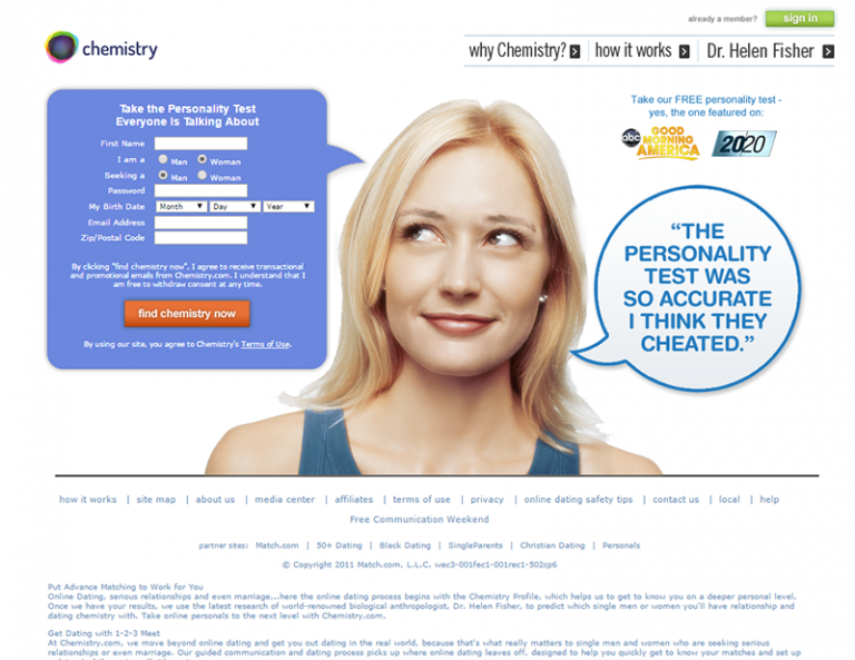 review of dating site chemistry.com